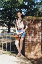black vintage Dooney and Bourke purse - light blue vintage shorts