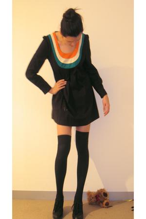 black Sportsgirl socks - black Wittner shoes - black vintage dress