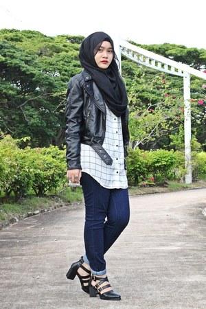 black H&M jacket - white Forever 21 shirt