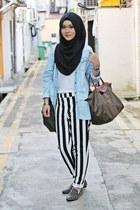 light blue cotton on shirt - olive green longchamp bag - black Forever 21 pants