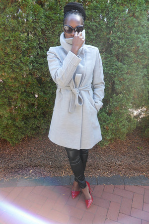 heather gray wool jacket H&M coat - black H&M pants - red red  pumps Aldo heels