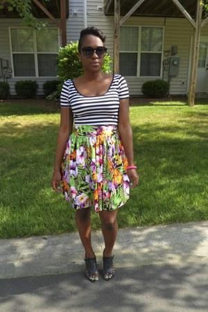 green DIY skirt - black JC Penny top