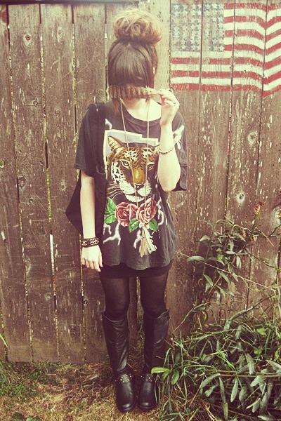 black vintage shirt - black Charlotte Russe boots - black YSL bag