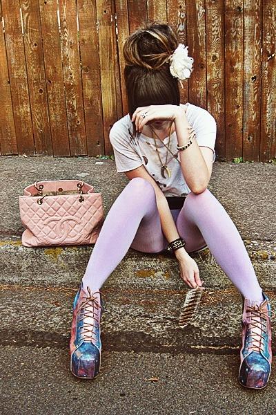 violet Jeffrey Campbell boots - periwinkle American Apparel leggings