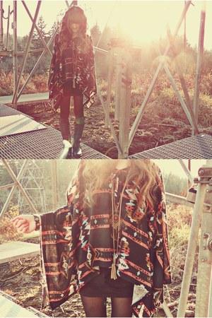black Shoppalu cape - black Charlotte Russe boots - black Forever 21 tights