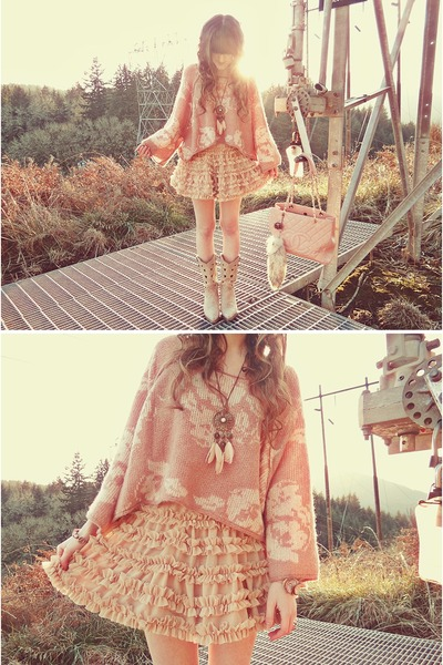 eggshell Durango boots - peach free people sweater - light pink Chanel bag