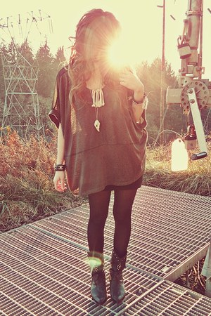 Sugar Lips Apparel shirt - vintage boots - Forever 21 tights - Chanel bracelet