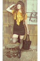 mustard Juicy Couture blouse - charcoal gray Topshop tights - black YSL bag