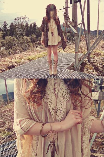 camel H&M necklace - eggshell Durango boots - dark brown Macys sweater