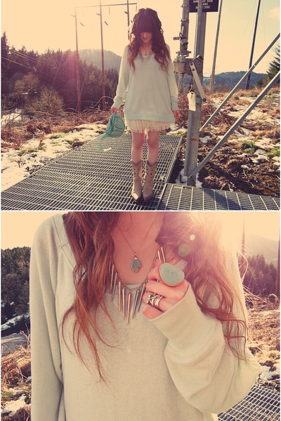 Trend Essentials necklace - romwe necklace - Durango boots - H&M sweater