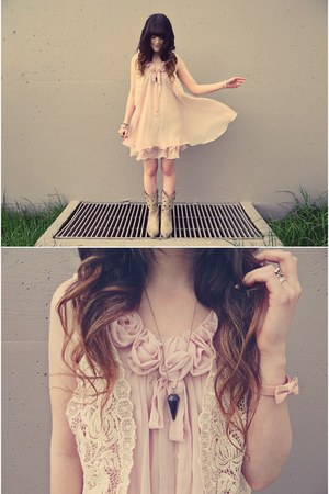 ivory Chicwish vest - eggshell Durango boots - light pink ianywear dress