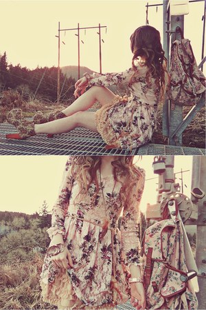 light pink Club Couture dress - camel Jeffrey Campbell boots