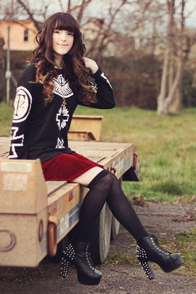 crimson OASAP skirt - black Sammy dress boots - black Sheinside sweater