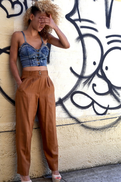 navy bought online top - burnt orange wide leg thrifted pants