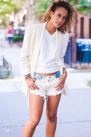 white Ralph Lauren blazer - bleached-white DIY shorts