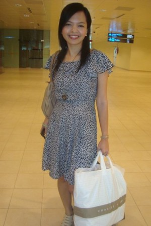 black Dorothy Perkins dress - cream mags shoes