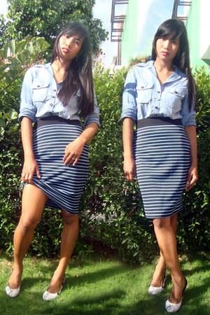 blue Betty skirt - black Moonbasa pumps - black Claires earrings