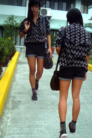 black asos shirt - black Nine West bag - black Plains & Prints shorts