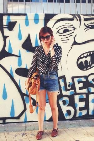 black sheer polka dot blouse - dark brown monk shoes - bronze satchel rubi bag