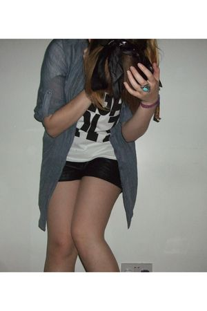 white top - black H&M shorts - blue new look shirt