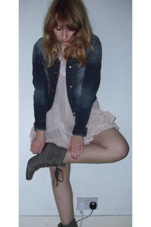 silver Marks & Spencer boots - pink Topshop dress - blue Zara jacket