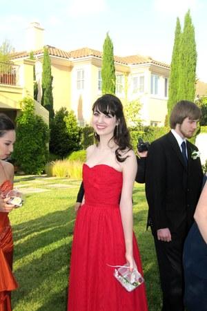 red chiffon handmade dress - gold Eliot Danori earrings - black Steven Madden he
