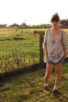 brown Sacha shoes - blue Pimkie shorts - gray new look blouse - silver camaieu n