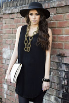 BLACK PLEATED VEST DRESS LBD #BELLA