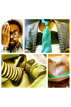 everyday glasses - black shoes - summer hat - stripe blazer - stripes socks