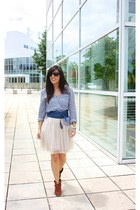 brown pull&bear boots - cream H&M skirt