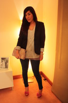 hot pink asos heels - black Stradivarius jacket - silver Stradivarius top