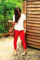 red Bershka jeans - white Primark shirt
