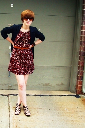 Silence & Noise blazer - Old Navy dress - thrifted belt - Target shoes