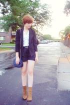 brown leopard Newport News boots - black thrifted blazer - black Express shorts