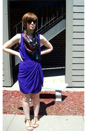 thrifted dress - thrifted scarf - Express shoes - Charlotte Russe earrings
