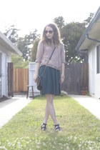 dark green DIY skirt - black lulus bag - camel Forever 21 top