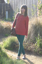 teal Kill City jeans - salmon Urban Outfitters sweater - brown OASAP bag