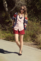 navy second hand cardigan - ruby red Forever 21 shorts