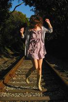 gray Pretty Mama cardigan - purple new deal dress - beige Aldo boots