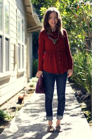 gold OASAP necklace - blue Wet Seal jeans - brick red diy fur clutch bag