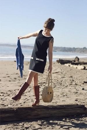 black unknown dress - blue H&M cardigan