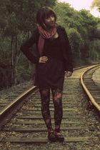 black BCBG blazer - black payless shoes - pink second hand scarf - purple self-m