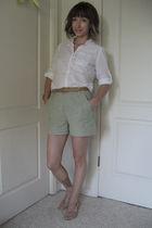 green via Crossroads shorts - brown thrifted belt - white New York & Co blouse -