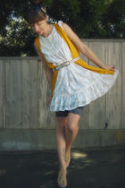 white crossroads dress - yellow crossroads cardigan - gray crossroads belt - gra