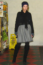 black Ross boots - gray Self Made skirt - black Pretty Mama scarf - black Aesics