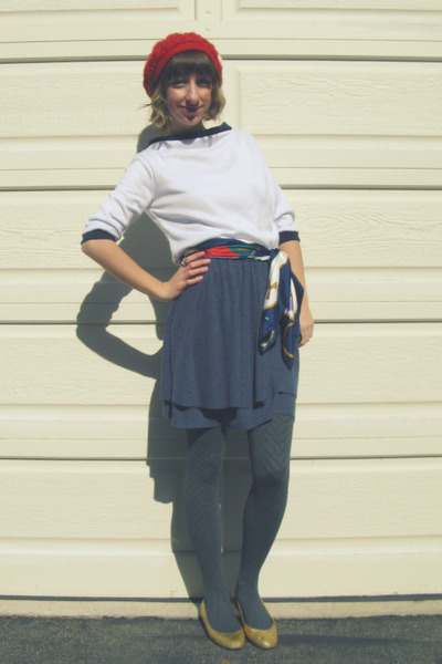 red thrifted from Crossroads hat - white self-made top - blue self-made skirt -