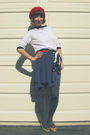 Red-thrifted-from-crossroads-hat-white-self-made-top-blue-self-made-skirt-