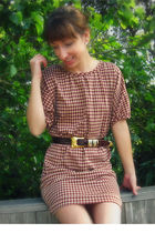 brown Self Made dress - brown thrifted from Crossroads belt