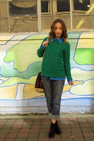 green Forever 21 sweater - black Wet Seal boots - blue thrifted blouse