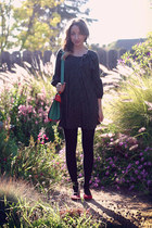 black 5 Target tights - black second hand dress - green OASAP bag